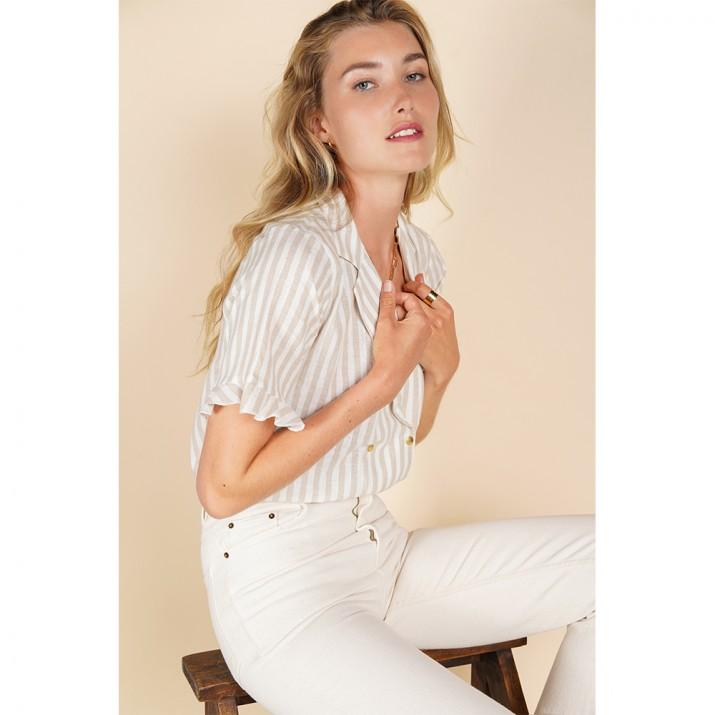 Chemise Bari - rayures blanc beige lurex